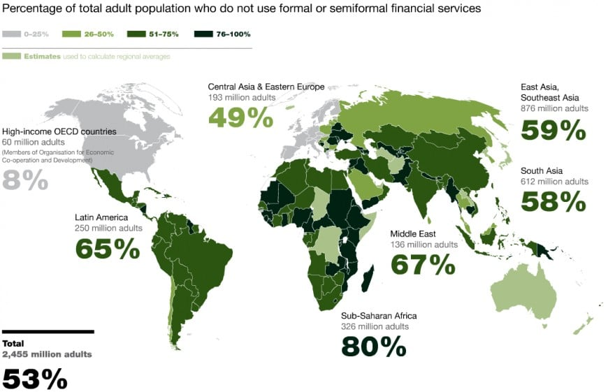 UnBanked World Map via Brave New Coin