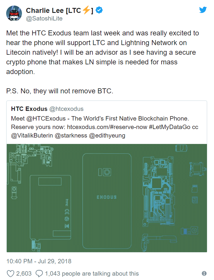 Charlie Lee Joins the HTC Exodus Project