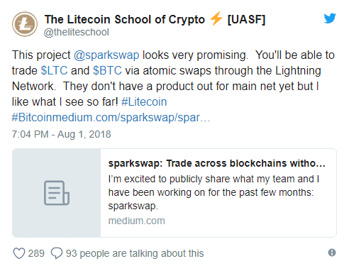 Litecoin School of Crypto Supports SparkSwap Platform