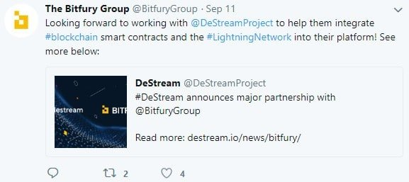 Bitfury Announced Partnership with DeStream