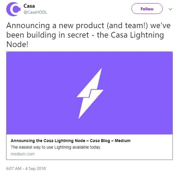 Casa Lightning Node Announcement via Twitter