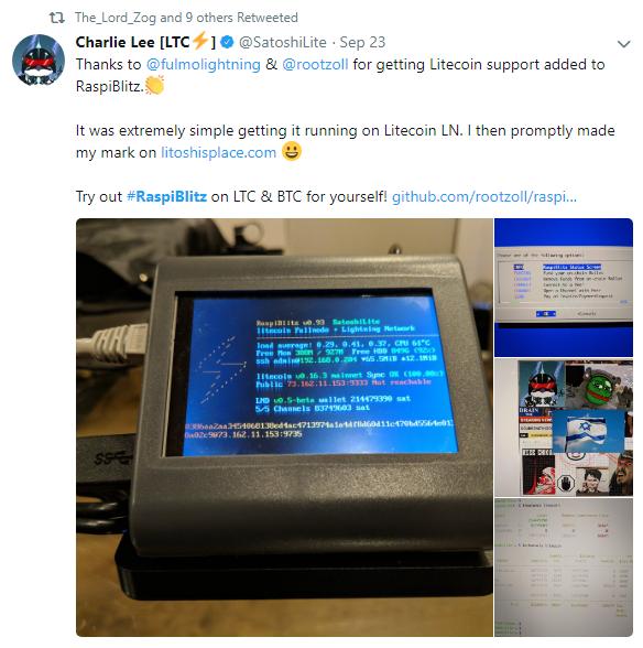 Charlie Lee Discussing RaspiBlitz via Twitter