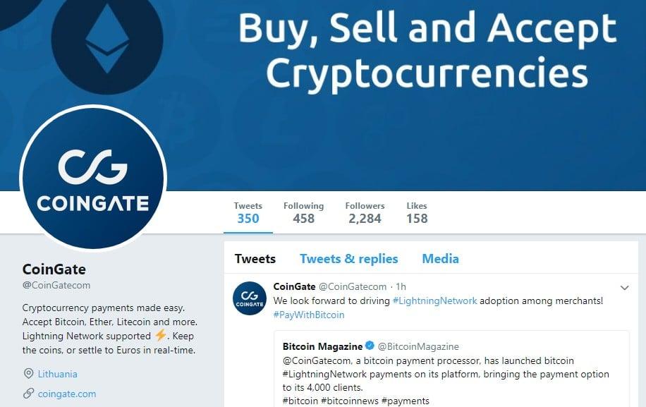 Coingate Announces Lightning Network Adoption via Twitter
