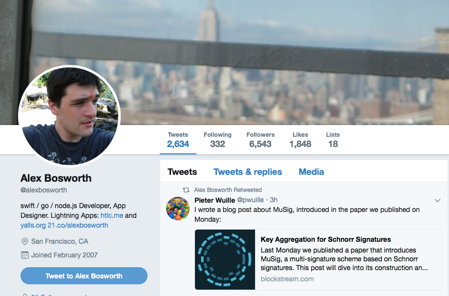 Submarine Swap Developer Alex Bosworth via Twitter