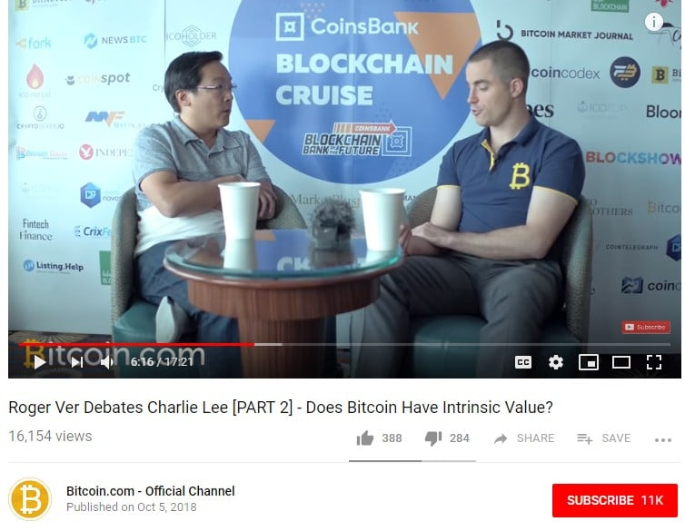 Roger Ver Debates Charlie Lee via Bitcoin.com YouTube Channel