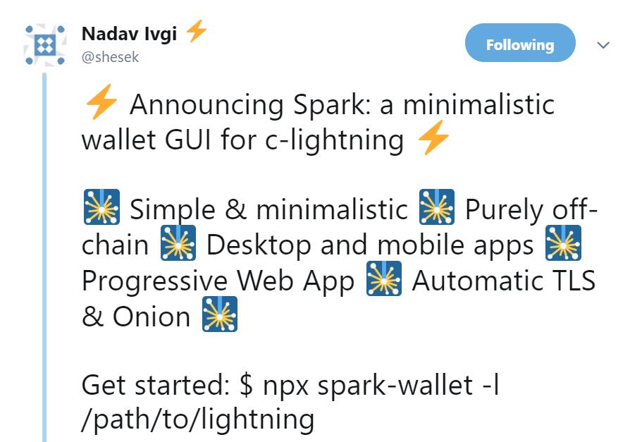Spark Wallet Release Via Twitter