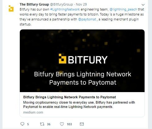 Bitfury Partners with Paytomat via Twitter