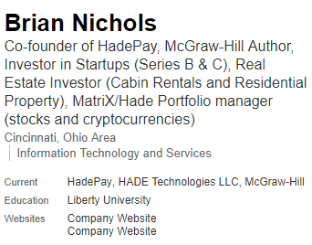 Hadepay CEO Brain Nichols via Linkedin
