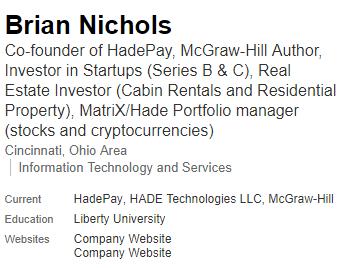 Hadepay CEO Brain Nichols via Linkedin
