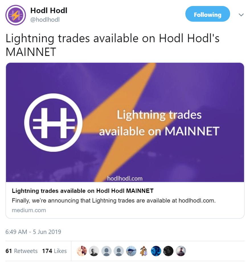 HodlHodl Integrates Lightning Network