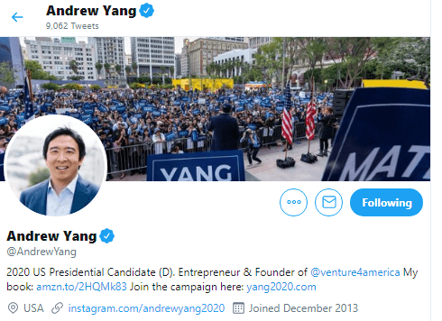 Andrew Yang via Twitter - Humanity FWD