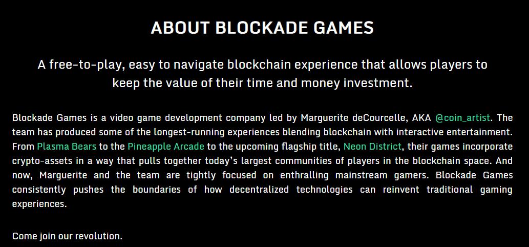 Blockade Games via Homepage
