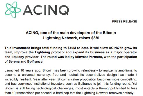 ACINQ Press Release