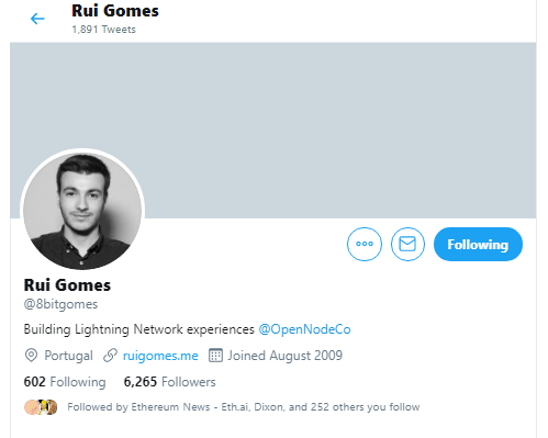 Lightning Authenticator Developer Rui Gomes