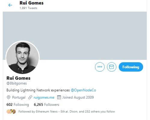 Lightning Authenticator Developer Rui Gomes