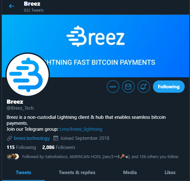Breeze via Twitter - Lightning Network 2019