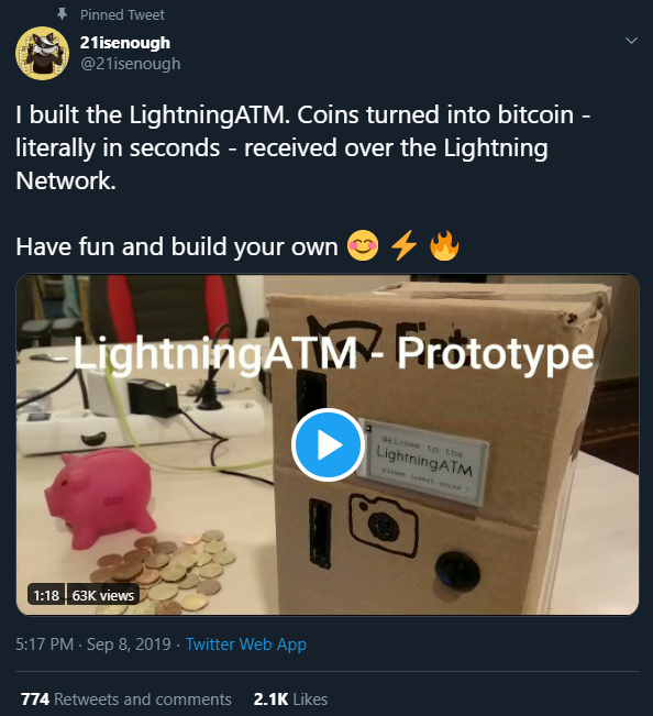 Lightning Network ATM - 21isenough Twitter